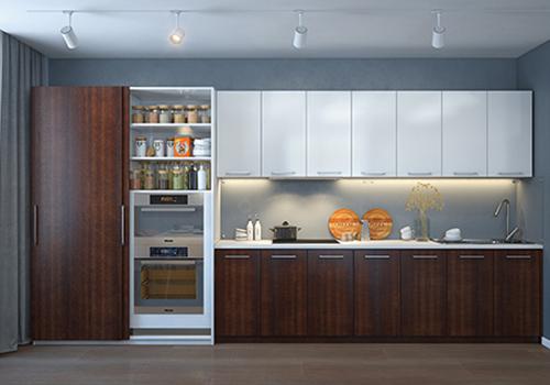 Современная прямая кухня со шкафом-купе