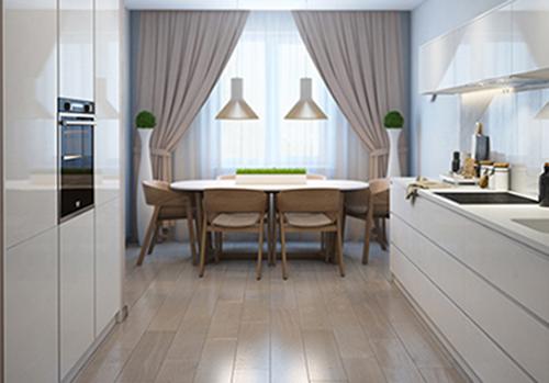 Кухня  в скандинавском стиле с двухрядным расположением