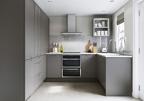 Кухня в стиле хай-тек сдержанного серого цвета