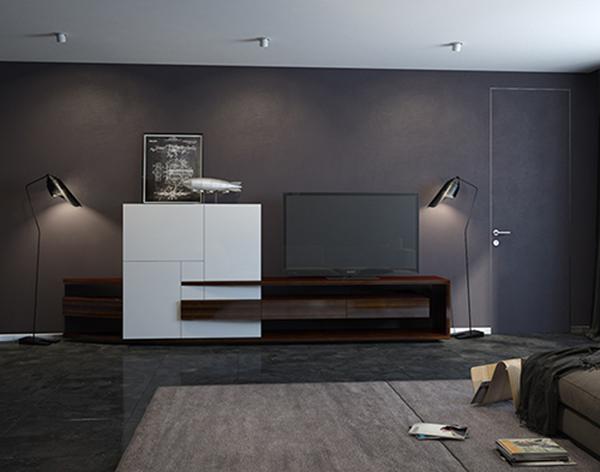 Мебельный комплект для гостиной с уникальными фасадами