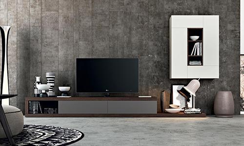 Функциональная ТВ-зона в современном стиле с оригинальным навесным модулем