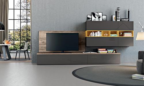 ТВ-зона для гостиной с подвесным модулем с акцентной вставкой