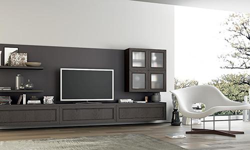 Стильная стенка для ТВ с квадратным модулем