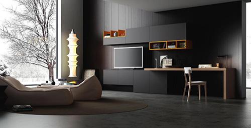 Гарнитур для гостиной в минималистичном стиле с рабочим местом